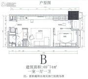 华远华中心1室1厅1卫69--74平方米户型图