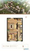 万和城1室1厅1卫56平方米户型图