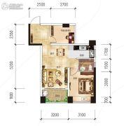 越亚天赐良园2室2厅1卫56平方米户型图