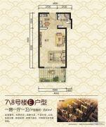 谯郡华府1室1厅1卫43平方米户型图
