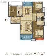 中国铁建・西派国际3室2厅2卫121平方米户型图