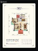 力创天籁福2室2厅1卫84平方米户型图