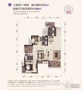 保利江上明珠畅园3室2厅2卫97--108平方米户型图