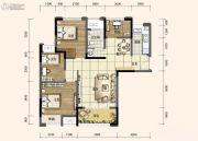 旭阳台北城敦美里3室2厅1卫77平方米户型图