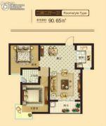 东鑫中央公园2室2厅1卫90平方米户型图