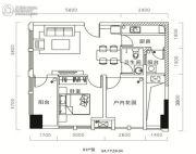 天祺佰潮汇1室1厅1卫38平方米户型图