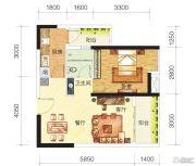中海誉城1室2厅1卫53平方米户型图