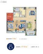 中铁立丰城市生活广场3室2厅1卫87平方米户型图