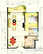 鹿茵华庭1室2厅1卫66平方米户型图