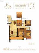 奥克斯缔壹城颐�Z园4室2厅2卫139平方米户型图
