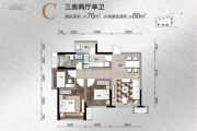 鲁能城3室2厅1卫76平方米户型图