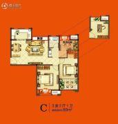 美好汇邻湾3室2厅1卫89平方米户型图