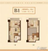 爱尚里3室1厅1卫48平方米户型图