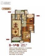 上虞万达广场3室1厅1卫95平方米户型图