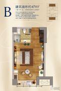 升龙汇金中心1室1厅1卫47平方米户型图