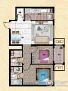 行宫・御东园2室2厅2卫87平方米户型图