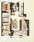 红木林2室2厅2卫108平方米户型图