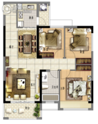 鑫月广场・欢乐海湾3室2厅1卫92平方米户型图
