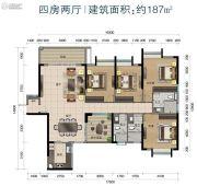 华标峰湖御境4室2厅3卫187平方米户型图