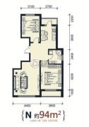 滨洲华府2室2厅1卫94平方米户型图