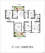 建业壹号城邦4室2厅2卫174平方米户型图