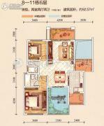 江南美邸2室2厅2卫92平方米户型图