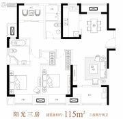 中城誉品3室2厅2卫115平方米户型图
