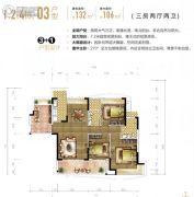 东城天樾3室2厅2卫132平方米户型图