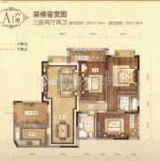 城北滨江河畔3室2厅2卫108平方米户型图