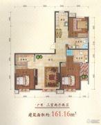 金地阳光3室2厅2卫161平方米户型图