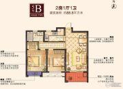 红豆香江豪庭2室1厅1卫88平方米户型图