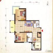 鸿安国际广场2室2厅2卫97平方米户型图