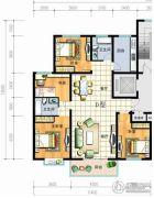 红安帝都4室2厅2卫138平方米户型图