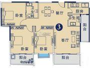 御�Z华庭3室2厅2卫109平方米户型图
