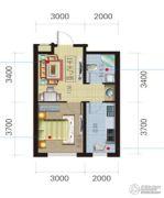 荟萃园1室1厅1卫46平方米户型图