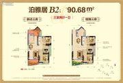 国博新城3室2厅1卫90平方米户型图