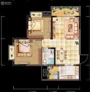 亲亲里2室2厅1卫77平方米户型图