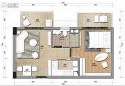 观澜湖1室2厅1卫60平方米户型图