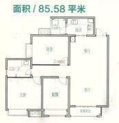 豪情骏座2室2厅1卫85--86平方米户型图