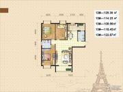 美地金城3室2厅2卫109--125平方米户型图
