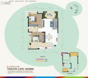 汇乐国际2室2厅1卫86平方米户型图
