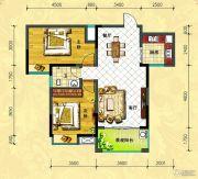 中央新城2室2厅1卫95平方米户型图
