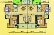 水岸花城2室2厅2卫90平方米户型图