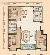 鸿发・东门华府3室2厅2卫127平方米户型图