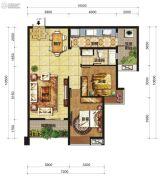 中交锦湾一期2室2厅1卫100平方米户型图
