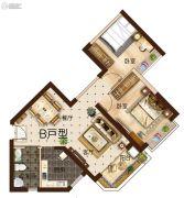 曲靖恒大绿洲3室2厅1卫78平方米户型图