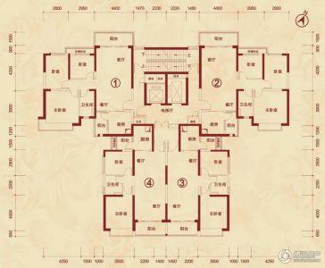 恒大城一期114平米户型图