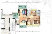 富元港景峰3室2厅2卫110平方米户型图