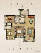 保利原乡3室2厅2卫120平方米户型图