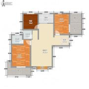 龙廷山水・东方�Z园3室2厅2卫107平方米户型图